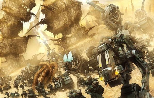 Картинка планета, армия, роботы, солдаты, далекая