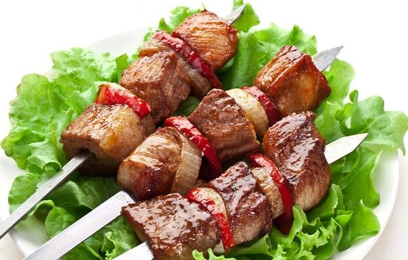 Картинка мясо, овощи, шашлык, meat