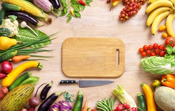 Картинка кукуруза, лук, виноград, нож, бананы, баклажан, груша, перец, овощи, помидоры, капуста, food, melon, banana, grapes, …