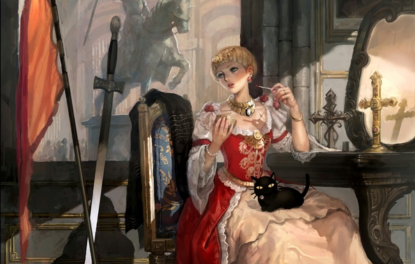 Картинка девушка, кресты, меч, флаг, статуя, Жанна Д'арк