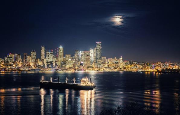 Картинка корабль, здания, залив, Сиэтл, ночной город, небоскрёбы, Washington, Seattle, штат Вашингтон, Elliott Bay, Залив Эллиотт