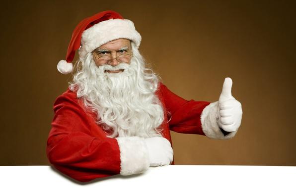 Картинка белый, красный, лицо, поза, фон, новый год, рука, рождество, очки, костюм, перчатки, старик, борода, санта …