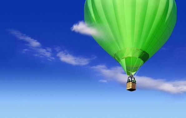 Картинка небо, облака, синий, зеленый, Шар