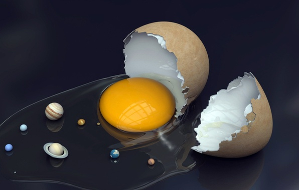 Картинка космос, земля, планеты, яйцо, юмор, солнечная система, скорлупа, желток