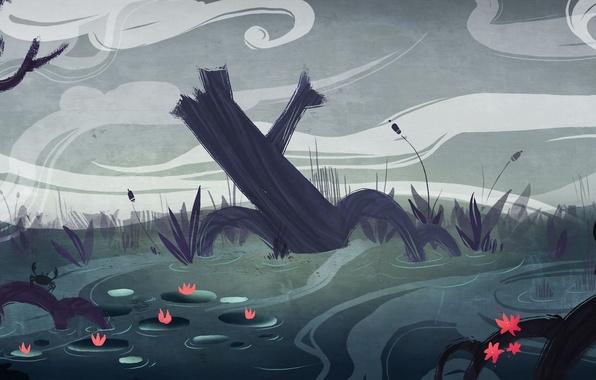 Картинка река, арт, лотосы, крабы, коряги, нарисованный пейзаж