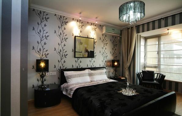Картинка дизайн, стиль, лампа, кровать, интерьер, картина, кресло, люстра, спальня