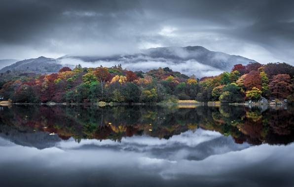 Картинка autumn, clouds, lake, hill