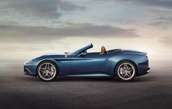 Картинка Феррари, Синяя, Ferrari, Калифорния Т, California T, Вид Сбоку