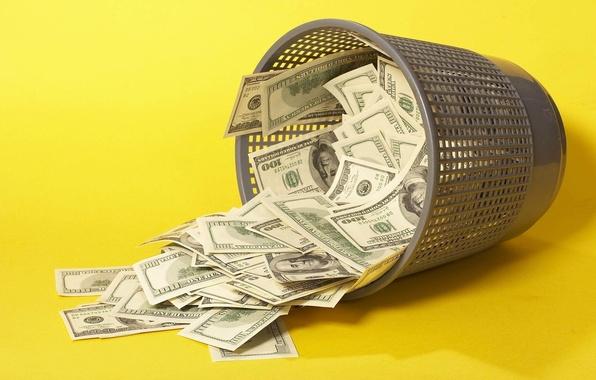 Картинка деньги, доллары, баксы, Ведро, урна