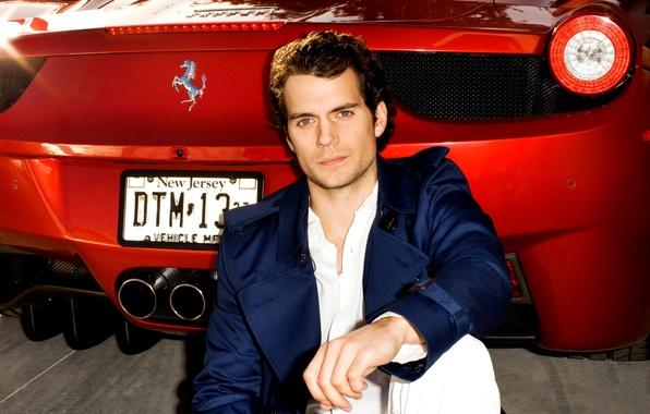 Картинка машина, актер, мужчина, красная, Henry Cavill, Генри Кавилл, Ferrari 458 Spider