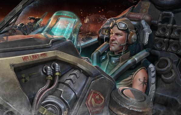 Картинка корабль, тату, арт, очки, сигарета, татуировка, шлем, кабина, мужчина, курит, STARCRAFT 2