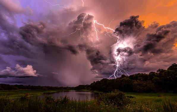 Картинка небо, облака, деревья, тучи, шторм, природа, озеро, молнии, вечер, Гроза