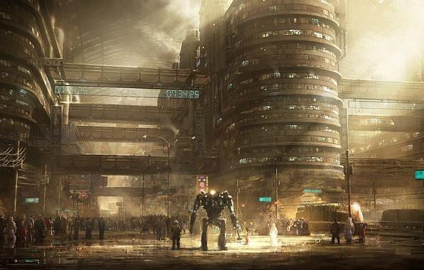 Картинка город, будущее, люди, робот, арт