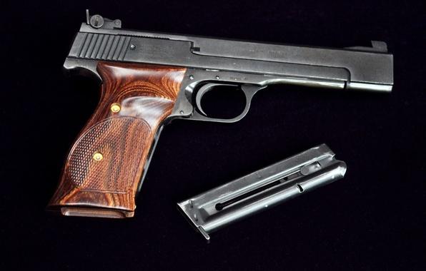 Картинка металл, пистолет, оружие, фон, дерево, темный, войны, pistol, США, как, рукоятка, лак, после, 1957, курок, …