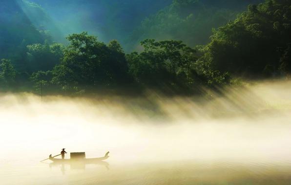 Картинка туман, река, лодка, China, джунгли, Hunan Province