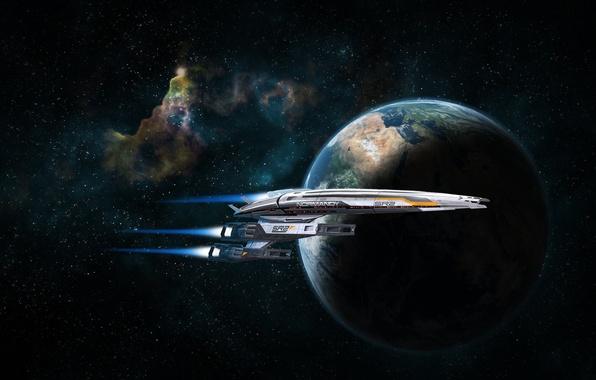 Картинка космос, планета, нормандия, mass effect, normandy, масс эффект, sr-2