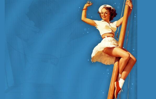 Картинка девушка, улыбка, морячка, мачта, жест, берет, art, голубой фон, pin-up, Gil Elvgren