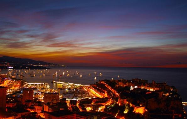 Картинка пейзаж, ночь, city, город, дома, порт, Monaco, Монако, Monte Carlo, Монте Карло, панорама., naght