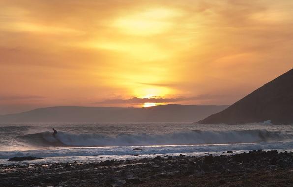 Картинка море, волны, пляж, закат, серфинг