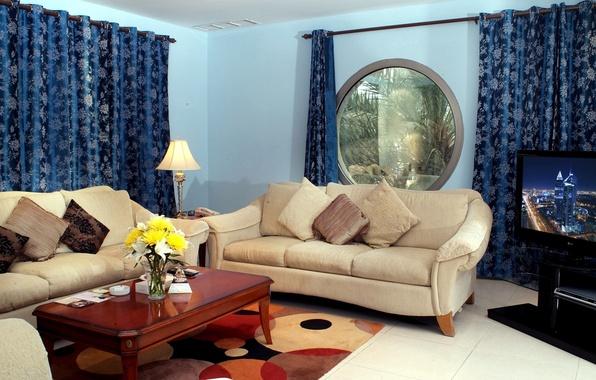 Картинка цветок, цветы, дизайн, стиль, стол, диван, лампа, интерьер, букет, подушки, телевизор, окно, зал, шторы, гостиная