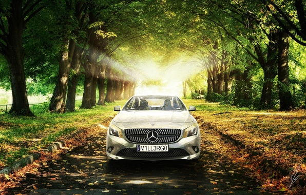 Картинка Mercedes-Benz, Солнце, Трава, Деревья, Листья, Car, Grass, Автомобиль, AMG, Sun, Trees, Class, Premium, CLA, Leaves, …