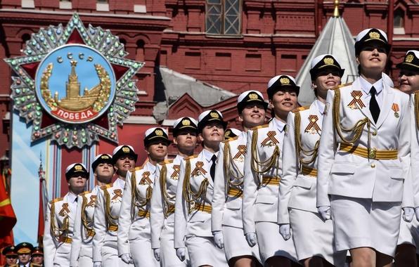 Картинка девушки, праздник, день победы, парад, красная площадь, России, военного, обороны, 9 Мая, курсанты, университета