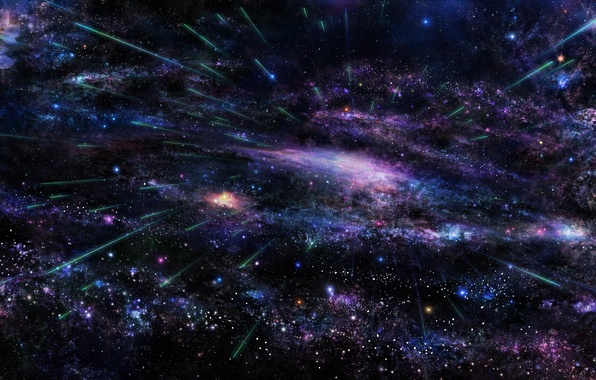 Картинка небо, космос, звезды, дерево, сакура, арт, галактика, tsujiki