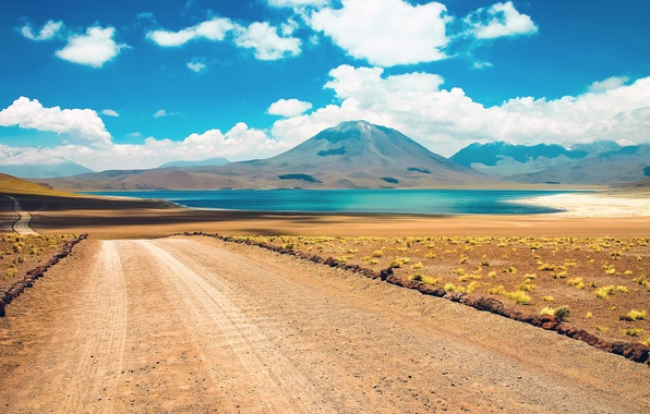 Картинка road, desert, cloud, mountain, lake, chile, atacama