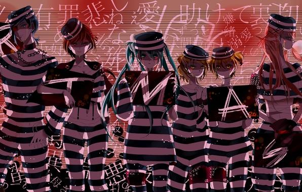 Картинка буквы, девушки, арт, таблички, форма, парни, цепи, vocaloid, Hatsune Miku, Kagamine Rin, Meiko, вокалоид, Kaito, ...