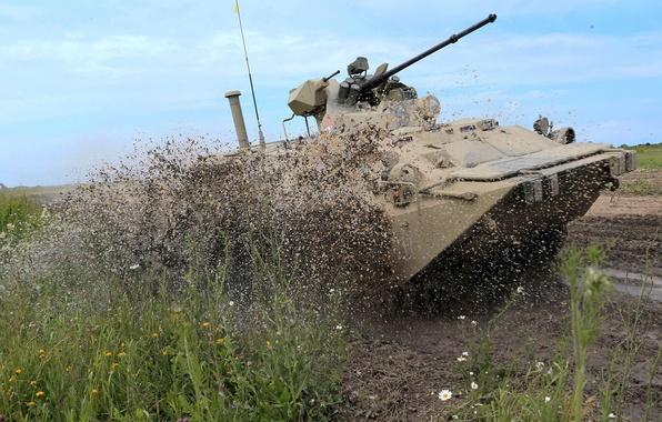 Картинка машина, грязь, боевая, бронетранспортёр, пехоты, БТР-80\82