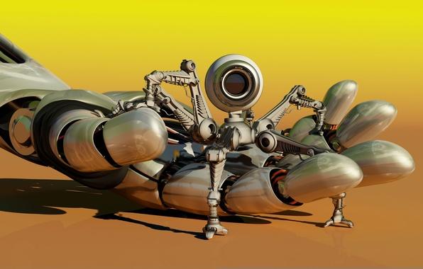 Картинка макро, механизм, робот, рука, камера, размытость, robot, андроид, ладонь, android, mini, hi-tech, спасатель, боке, разведчик, …