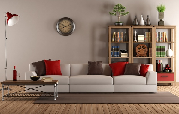 Картинка диван, часы, интерьер, подушки, библиотека, старинные, гостиная, living room, interior, clock, couch, pillows, lamb, library, …