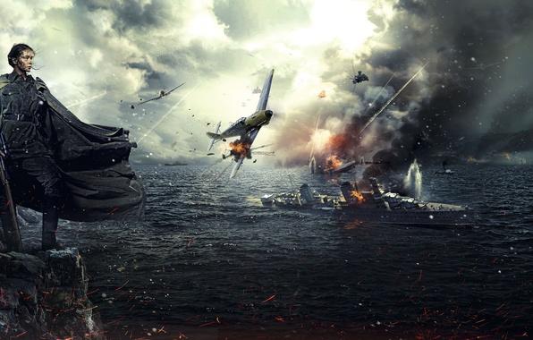 Картинка море, девушка, скалы, огонь, война, берег, взрывы, корабли, бой, самолеты, искры, воздушный, снайпер, боец, винтовка, ...