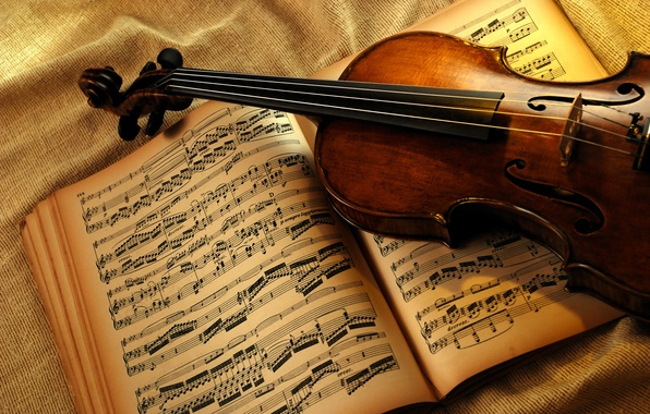 Картинка ноты, скрипка, книга
