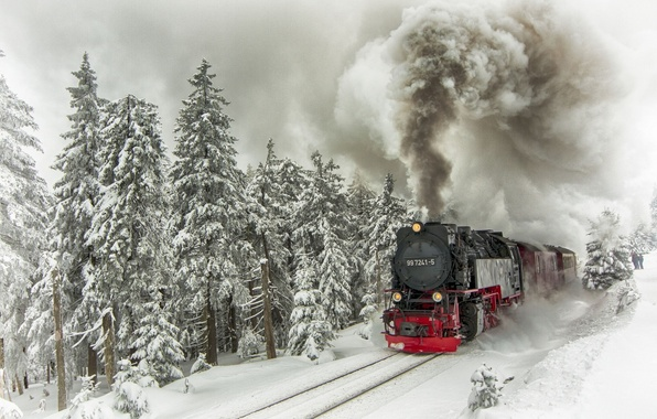 Картинка зима, снег, деревья, дым, рельсы, поезд, паровоз, ели, состав