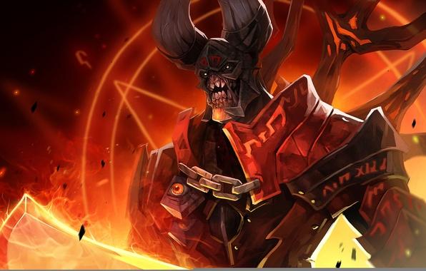 Картинка тьма, огонь, демон, dota 2, doom, moba, люцифер