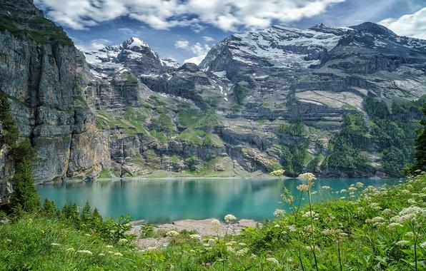 Картинка горы, озеро, Швейцария, Switzerland, Bernese Alps, Бернские Альпы, озеро Эшинензе, Oeschinen Lake, Бернское высокогорье, Bernese …