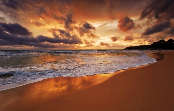 Картинка песок, море, пляж, небо, пена, вода, облака, пейзаж, океан, побережье, волна, горизонт, прилив