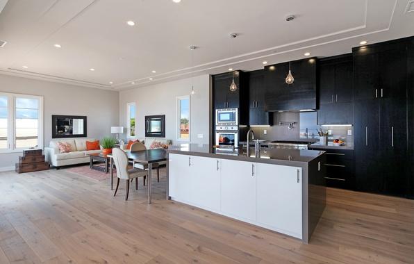 Картинка стол, диван, мебель, интерьер, зеркало, кухня