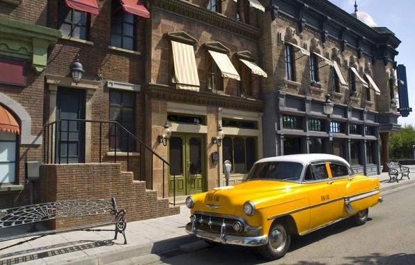 Картинка дорога, авто, город, улица, здания, дома, такси, желтое, улицы, taxi, все, близки.