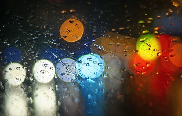 Картинка стекло, капли, свет, огни, дождь, разноцветные, боке
