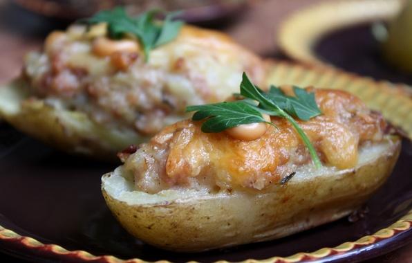Картинка зелень, еда, сыр, мясо, соус, картофель, Закуска