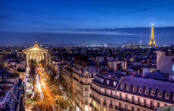 Картинка дорога, город, Франция, Париж, вид, здания, дома, вечер, выдержка, крыши, панорама, Paris, отель, France, Иль-де-Франс, …