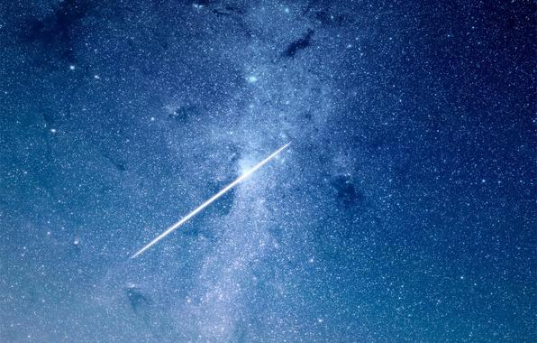 Картинка небо, звезды, ночь, метеор, звездное небо, плеяда
