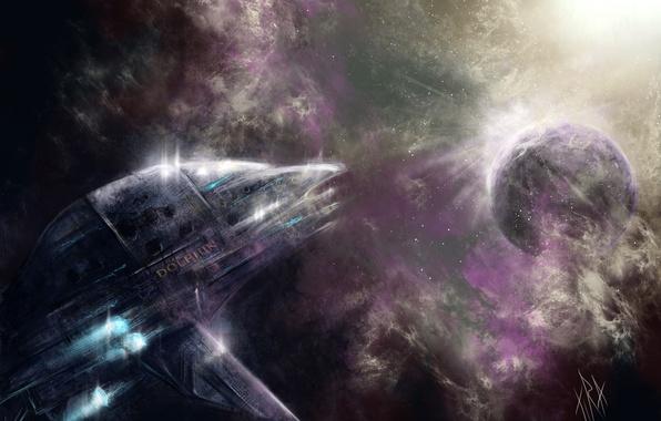 Картинка космос, звезды, туманность, корабль, планета, арт, Dolphin, шатлл