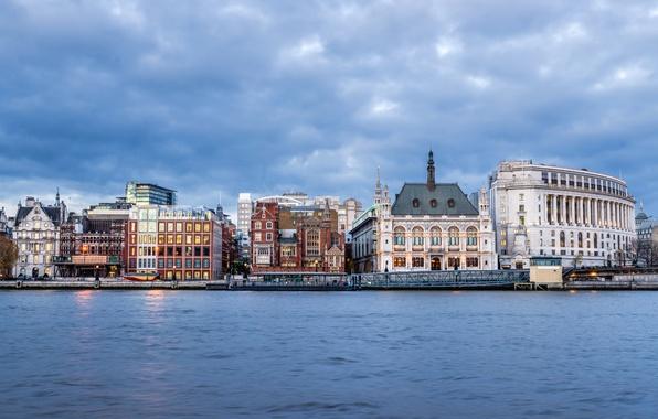 Фото обои тучи, дома, Лондон, Великобритания, пасмурно, небо, набережная, река