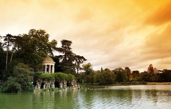Картинка природа, озеро, парк, Франция, Париж, ротонда, Bois de Vincennes, Венсенский лес