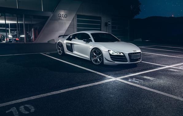Картинка Audi, Dark, Front, Night, White, Supercar, Automotive