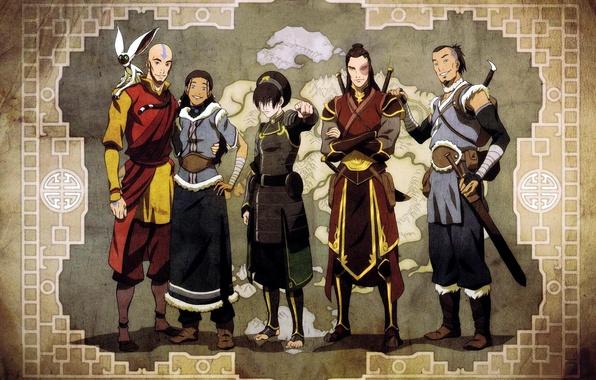 Картинка карта, Avatar, Аватар, друзья, Тоф, Зуко, Сока, Момо, Аанг, Катара, The Legend of Korra