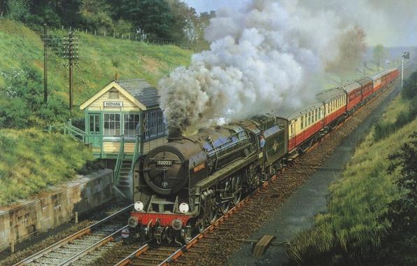 Картинка природа, дым, рельсы, вагоны, Поезд